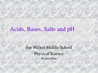 Acids, Bases, Salts and pH