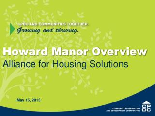 Howard Manor Overview Alliance for Housing Solutions