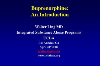 Buprenorphine:  An Introduction