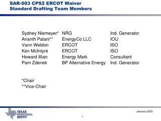 SAR-003 CPS2 ERCOT Waiver Standard Drafting Team Members