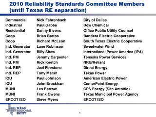 2010 Reliability Standards Committee Members (until Texas RE separation)