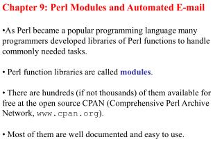 Chapter 9: Perl Modules and Automated E-mail