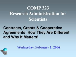 COMP 323 Research Administration for Scientists