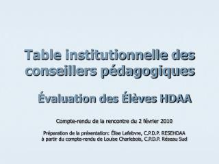 Table institutionnelle des conseillers pédagogiques