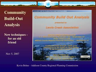 Kevin Behm – Addison County Regional Planning Commission