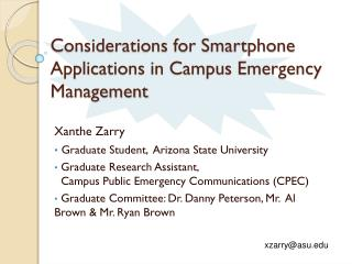 Considerations for Smartphone Applications in Campus Emergency Management