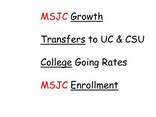 MSJC Growth Transfers  to UC & CSU College  Going Rates MSJC Enrollment