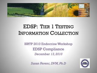 EDSP:  Tier 1 Testing  Information Collection