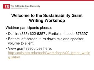 Welcome to the Sustainability Grant Writing Workshop