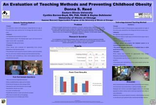 An Evaluation of Teaching Methods and Preventing Childhood Obesity Donna S. Reed