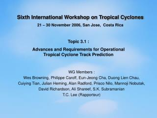 Sixth International Workshop on Tropical Cyclones 21 – 30 November 2006, San Jose,  Costa Rica