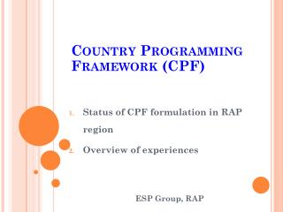 Country Programming Framework (CPF)