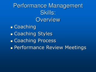 Performance Management Skills: Overview