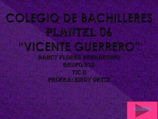 "COLEGIO DE BACHILLERES  PLANTEL  06 ""VICENTE GUERRERO"" Nancy flores  bernardino Grupo:215 TIC II"