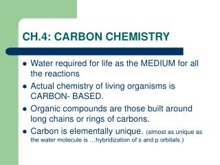 CH.4: CARBON CHEMISTRY