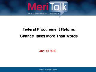 Federal Procurement Reform:  Change Takes More Than Words