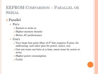 EEPROM Comparison – Parallel or Serial
