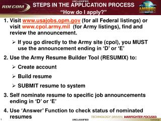 STEPS IN THE APPLICATION PROCESS �How do I apply?�