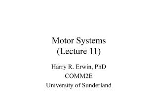 Motor Systems (Lecture 11)