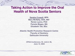 Taking Action to Improve the Oral Health of Nova Scotia Seniors