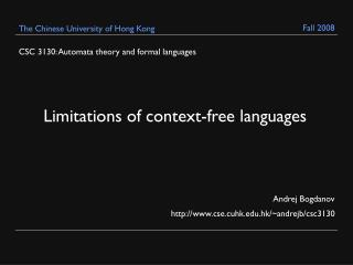 CSC 3130: Automata theory and formal languages