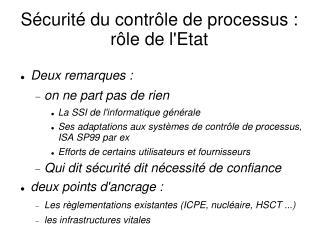 Sécurité du contrôle de processus : rôle de l'Etat