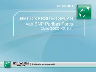 HET DIVERSITEITSPLAN van BNP Paribas Fortis  Claire GODDING, 9.11