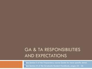 GA & TA Responsibilities and Expectations