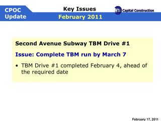Second Avenue Subway TBM Drive #1 Issue: Complete TBM run by March 7