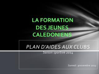 LA FORMATION     DES JEUNES                         CALEDONIENS