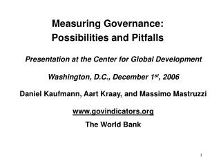 Measuring Governance:  Possibilities and Pitfalls