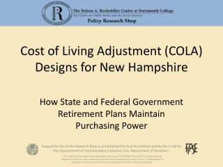 Cost of Living Adjustment (COLA) Designs for New Hampshire