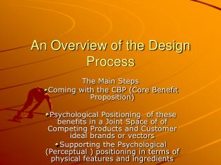 An Overview of the Design Process