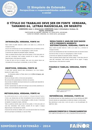 O T�TULO DO TRABALHO DEVE SER EM FONTE  VERDANA, TAMANHO 64,  LETRAS MAI�SCULAS, EM NEGRITO