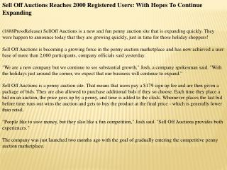 Sell Off Auctions Reaches 2000 Registered Users: With Hopes