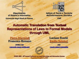 Automatic Translation from Textual Representations of Laws to Formal Models through UML