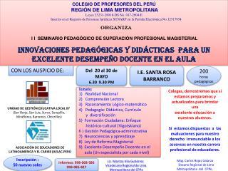 COLEGIO DE PROFESORES DEL PERÚ  REGIÓN DE LIMA METROPOLITANA Leyes 25231-28918-DS No. 017-2004-E