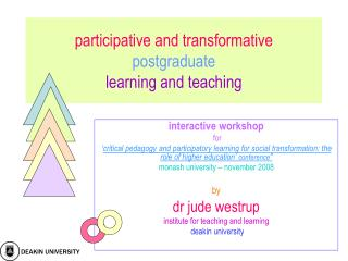 participative and transformative  postgraduate learning and teaching
