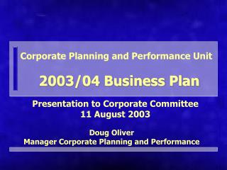 Corporate Planning and Performance Unit