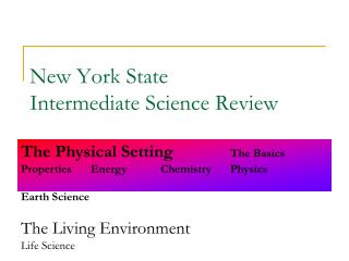 New York State  Intermediate Science Review