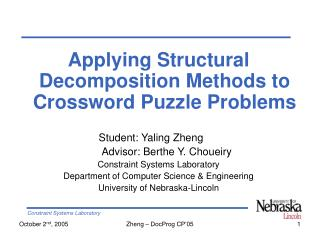 Applying Structural Decomposition Methods to Crossword Puzzle Problems