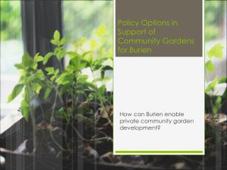 Policy Options in Support of Community Gardens for Burien