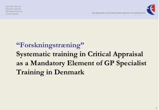 Aims and rationale of the systematic critical appraisal training module