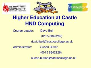 Higher Education at Castle HND Computing