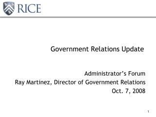 Government Relations Update