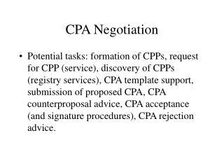 CPA Negotiation