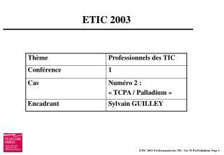ETIC 2003