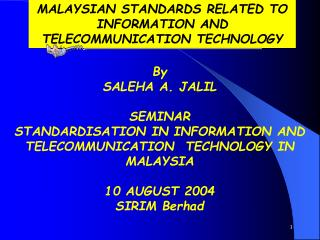 Malaysian Standards Related To Information And ...