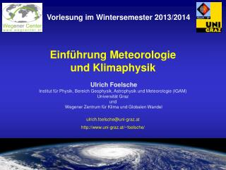 Einführung Meteorologie und Klimaphysik