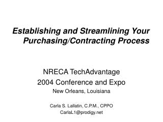 Establishing and Streamlining Your Purchasing/Contracting Process